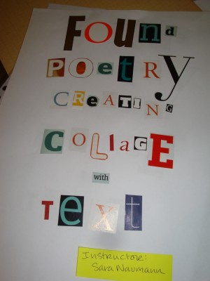 Sara Naumann blog Found Poetry class Art and Soul