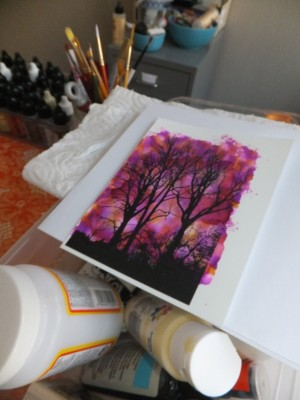 Sara Naumann blog Creative Workshops Lazertran alcohol inks