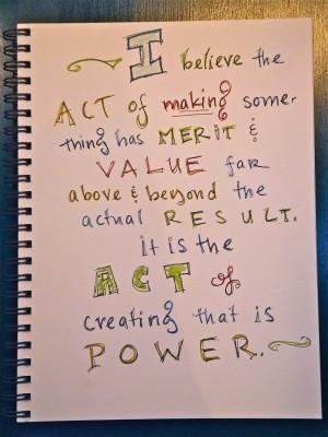 Sara Naumann blog art journaling act of making something