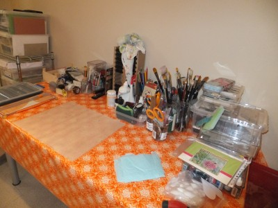 Sara Naumann blog view of studio craft table