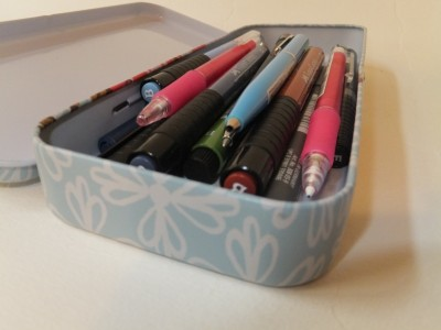 Sara Naumann blog tin of pens