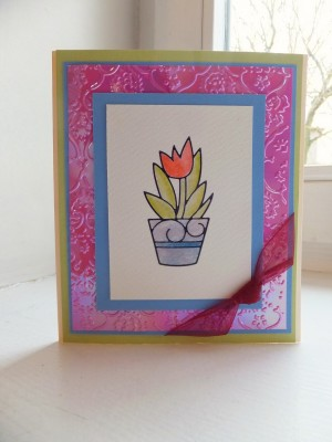 Sara Naumann card making with peel off stickers and distress markers