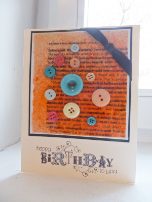 Sara Naumann ICE Resin card with button embellishments