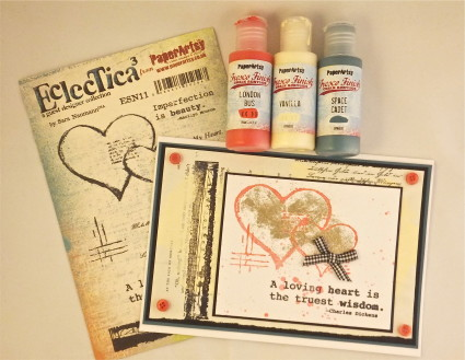 Eclectica card featuring PaperArtsy stamps by Sara Naumann