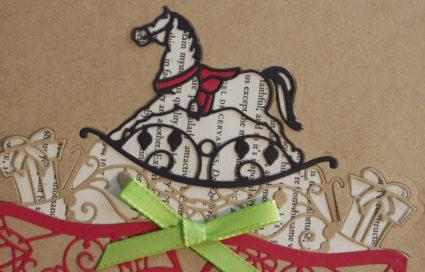 Couture Nutcracker collection rocking horse card