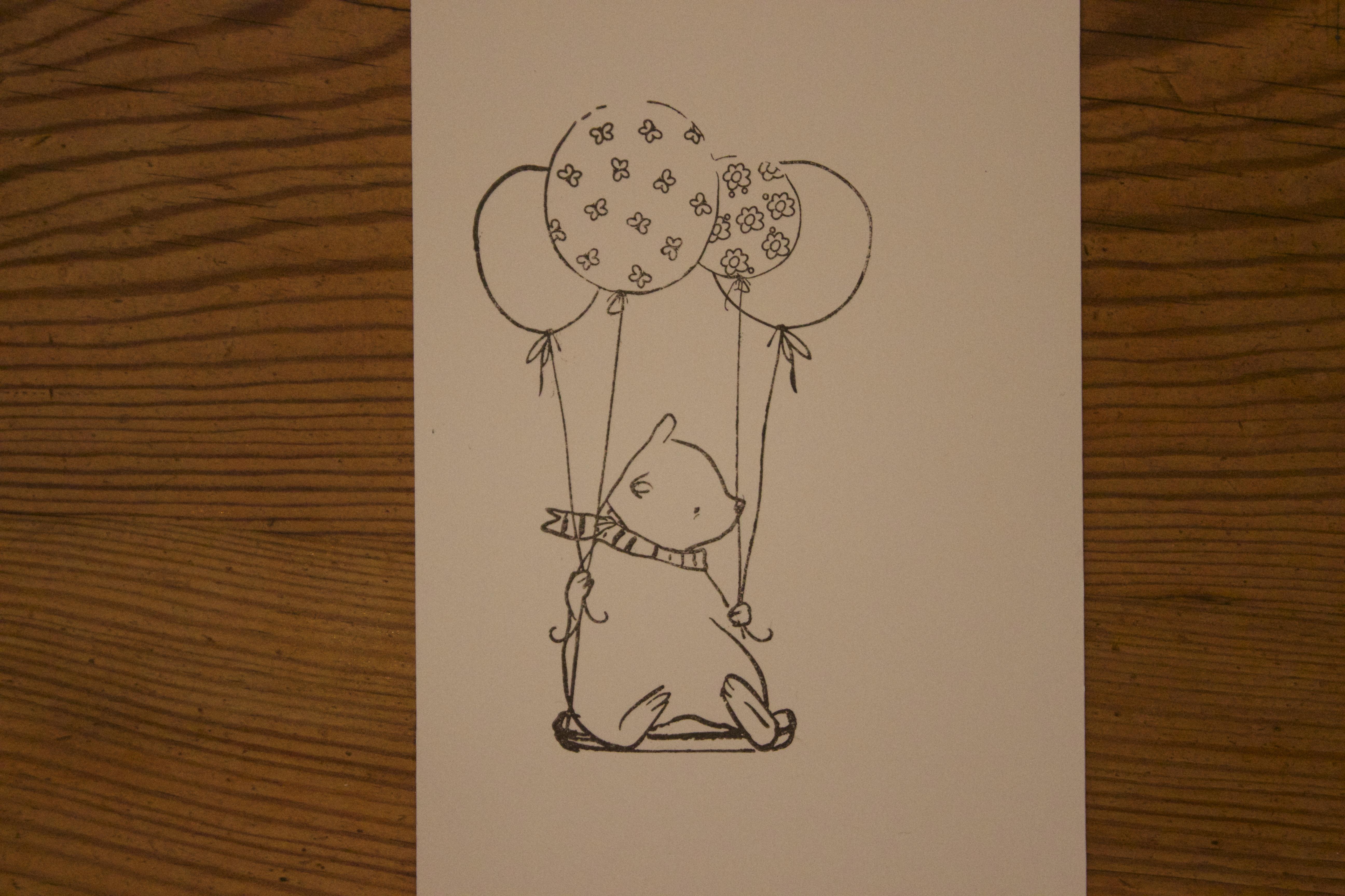 Sara Naumann paper piecing stamped images bear 2